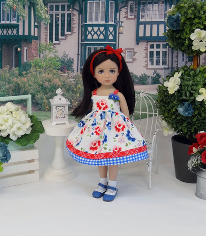 Cottage Roses - dress, socks & shoes for Little Darling Doll or 33cm BJD