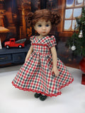 Country Christmas - dress, tights & shoes for Little Darling Doll or other 33cm BJD