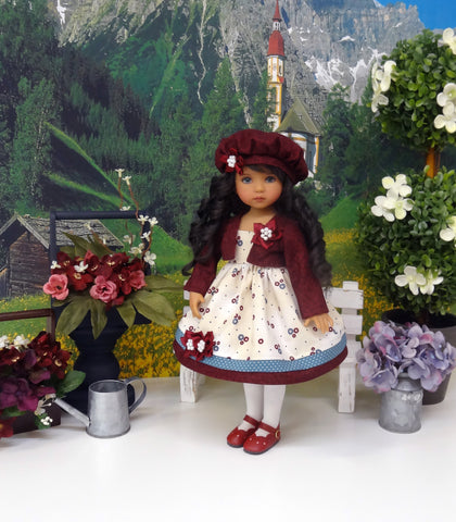 Country Flowers - dress, jacket, hat, tights & shoes for Little Darling Doll or 33cm BJD