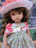 Country Meadow - dress, hat, tights & shoes for Little Darling Doll or 33cm BJD