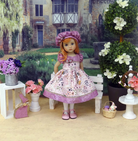 Country Rabbit - dress, hat, tights & shoes for Little Darling Doll or 33cm BJD