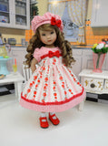 Country Strawberries - dress, hat, socks & shoes for Little Darling Doll or 33cm BJD