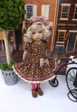 Country Sweetheart - dress, beret, tights & shoes for Little Darling Doll or other 33cm BJD