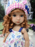 Country Wildflowers - dress, hat, socks & shoes for Little Darling Doll or 33cm BJD