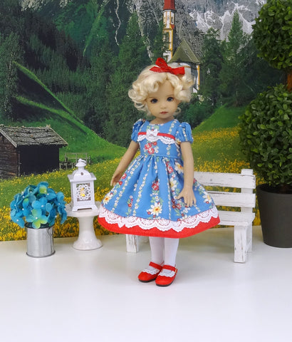 Countryside Flowers - dress, tights & shoes for Little Darling Doll or 33cm BJD