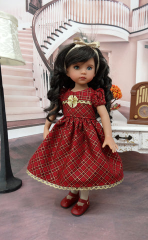 Cranberry Plaid - dress, tights & shoes for Little Darling Doll or 33cm BJD