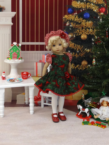 Crimson Cardinal - dress, beret, tights & shoes for Little Darling Doll or other 33cm BJD