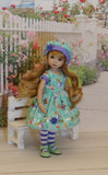 Curiouser & Curiouser - dress, hat, tights & shoes for Little Darling Doll or 33cm BJD