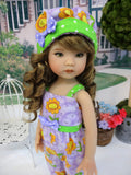 Daffy Daisy - romper, hat & sandals for Little Darling Doll or 33cm BJD