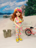 Day at the Beach - romper, hat & sandals for Little Darling Doll