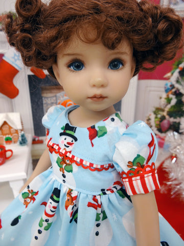December Snowman - dress, socks & shoes for Little Darling Doll or 33cm BJD