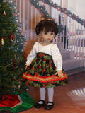 Deck the Halls - dress, tights & shoes for Little Darling Doll or 33cm BJD