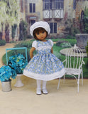 Delicate Bluebells - dress, hat, tights & shoes for Little Darling Doll or 33cm BJD