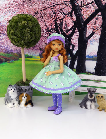 Dog Park - dress, hat, tights & shoes for Little Darling Doll or other 33cm BJD
