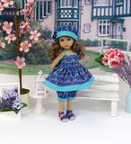 Dutch Iris - babydoll top, bloomers, hat & sandals for Little Darling Doll or 33cm BJD