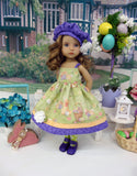 Easter Fields - dress, hat, tights & shoes for Little Darling Doll or 33cm BJD