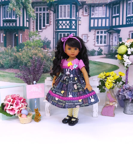 Easter Greetings - dress, tights & shoes for Little Darling Doll or 33cm BJD