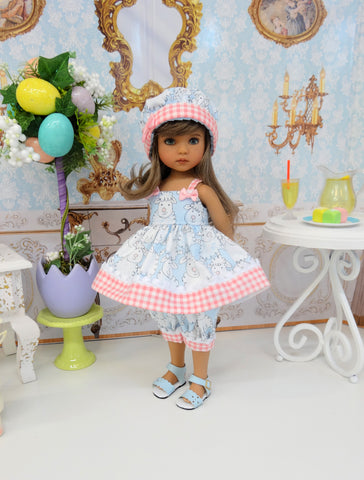 Easter Lamb - babydoll top, bloomers, hat & sandals for Little Darling Doll or 33cm BJD