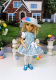 Easter Parade - dress, hat, tights & shoes for Little Darling Doll