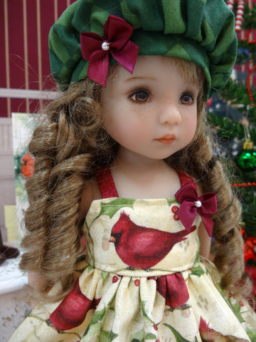 Elegant Cardinal - dress, hat, socks & shoes for Little Darling Doll or 33cm BJD