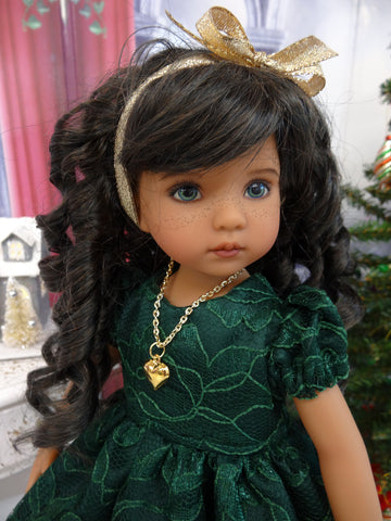 Elegant Evergreen - dress, slip, tights & shoes with necklace for Little Darling Doll or 33cm BJD