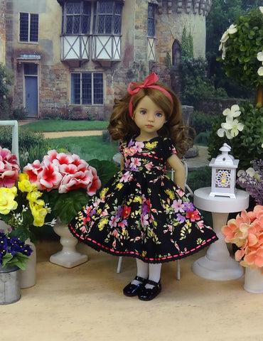 Elegant Garden - dress, tights & shoes for Little Darling Doll or other 33cm BJD