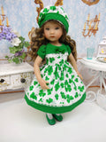 Emerald Clover - dress, hat, tights & shoes for Little Darling Doll or other 33cm BJD