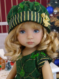 Emerald Poinsettia - dress, hat, tights & shoes for Little Darling Doll or 33cm BJD