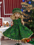 Emerald Poinsettia - dress, hat, tights & shoes for Little Darling Doll