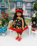 Engelbreit Flowers - babydoll top, bloomers, hat & sandals for Little Darling Doll or 33cm BJD