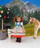 Enzian Beauty - dirndl ensemble with tights & boots for Little Darling Doll or 33cm BJD