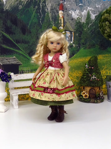 Enzian Rose - dirndl ensemble with tights & boots for Little Darling Doll or 33cm BJD