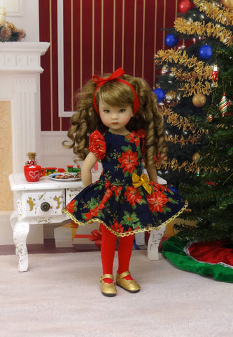 Evening Poinsettia - dress, tights & shoes for Little Darling Doll or 33cm BJD