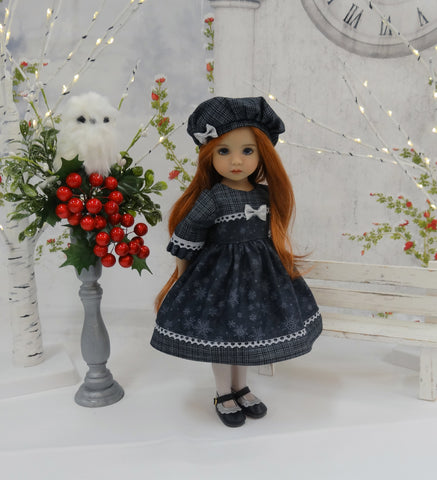 Evening Snowflakes - dress, hat, tights & shoes for Little Darling Doll or 33cm BJD