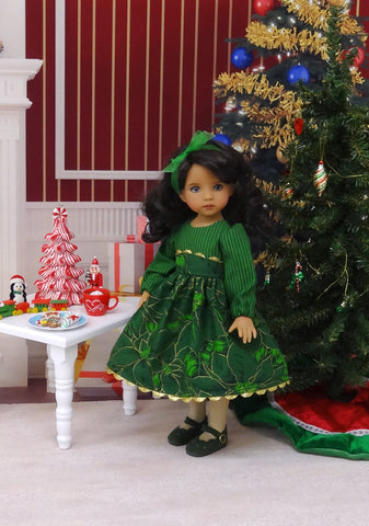 Evergreen Poinsettia - dress, tights & shoes for Little Darling Doll or 33cm BJD