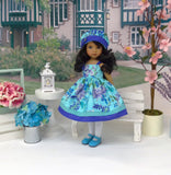 Exotic Bouquet - dress, hat, tights & shoes for Little Darling Doll or 33cm BJD