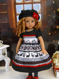 Fair Isle Reindeer - dress, hat, tights & shoes for Little Darling Doll or 33cm BJD