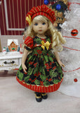 Fa La La La La - dress, hat, tights & shoes for Little Darling Doll or 33cm BJD