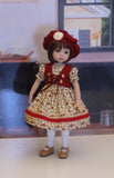 Fall Darling - dress, vest, beret, tights & shoes for Little Darling Doll or 33cm BJD