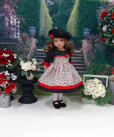 Fall Elegance - dress, hat, tights & shoes for Little Darling Doll or 33cm BJD