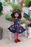 Fall In Bloom - dress, beret, tights & shoes for Little Darling Doll
