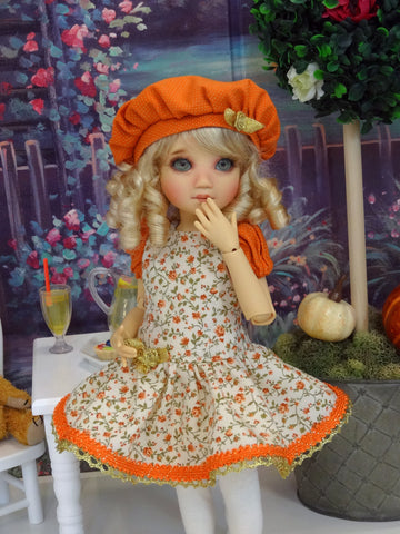 Fall Spice - dress, beret, tights & shoes for Little Darling Doll