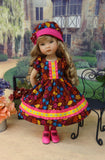 Falling Leaves - dress, hat, tights & shoes for Little Darling Doll or 33cm BJD