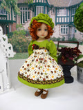 Festive Fall - dress, hat, tights & shoes for Little Darling Doll or 33cm BJD