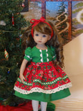 Festive Holiday - dress & apron ensemble with tights & shoes for Little Darling Doll or 33cm BJD
