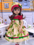 Festive Holly - dress, hat, tights & shoes for Little Darling Doll or 33cm BJD