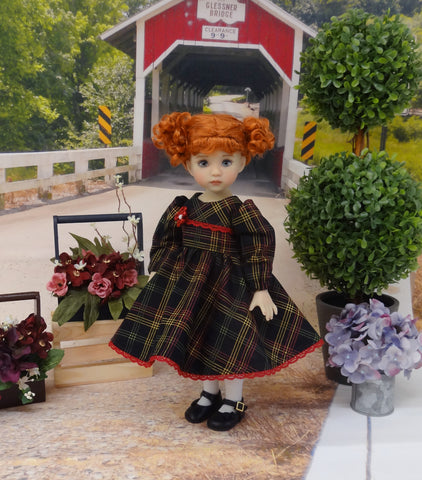 Festive Plaid - dress, tights & shoes for Little Darling Doll or 33cm BJD