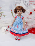 Festive Snowflakes - dress, socks & saddle shoes for Little Darling Doll or 33cm BJD