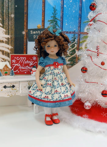 Festive Wreath - dress, tights & shoes for Little Darling Doll or 33cm BJD