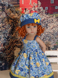 Field of Blue - dress, hat & sandals for Little Darling Doll